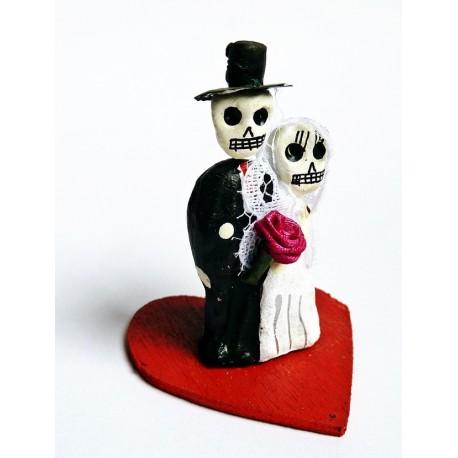 Mariés mexicains - Figurine couple fiancés en terre cuite - Casa Frida