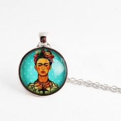 Collier Frida sur fond bleu à pois