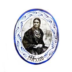 Magnet Frida Kahlo noir et blanc Bleu