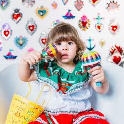 Sonajero mexicano trenzado grande, maracas colorido