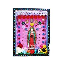 Niche statuette Vierge de Guadalupe rose - Autel en bois - Casa Frida