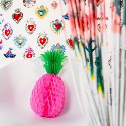 Ananas en papier rose - Boule alvéolée, honeycomb - Casa Frida