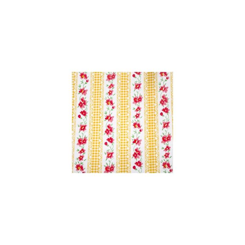 toile cir e vintage kitsch mexicaine vichy jaune fleurs. Black Bedroom Furniture Sets. Home Design Ideas