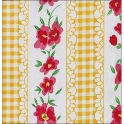 Toile cirée Vichy à fleurs jaune