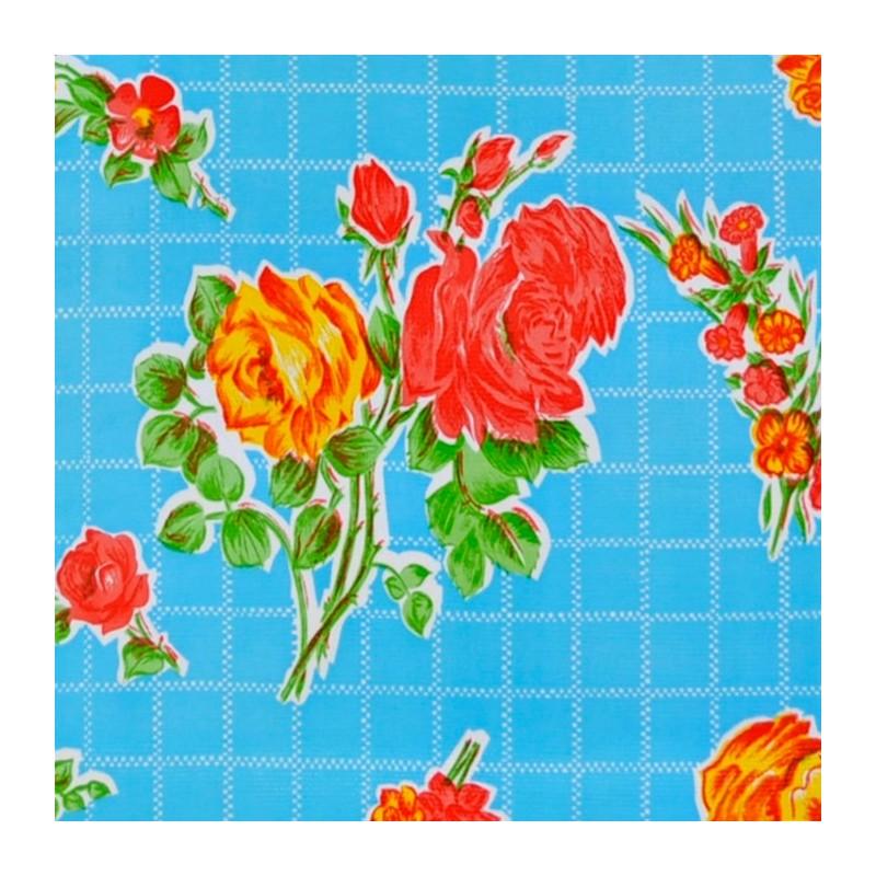 toile cir e rosedal bleu toile enduite r tro fleurs. Black Bedroom Furniture Sets. Home Design Ideas