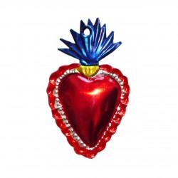 Coeur sacré mexicain allongé avec flamme bleue