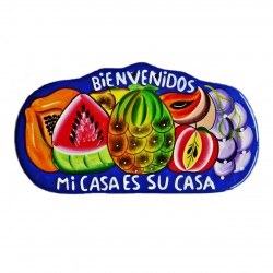 Plaque murale Bienvenidos bleu - Décoration mexicaine - Casa Frida