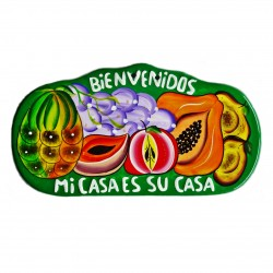 Plaque murale Bienvenidos vert - Décoration mexicaine - Casa Frida