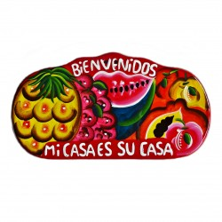 Plaque murale Bienvenidos rouge - Décoration mexicaine - Casa Frida