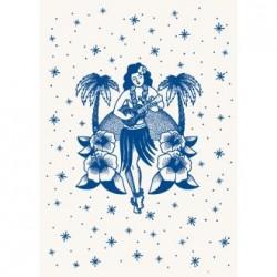 Póster tatuaje vintage Hula girl - Pinup hawaiana retro - Casa Frida