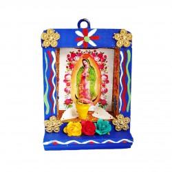 Nicho pequeño Virgen de Guadalupe azul - Altar de madera - Casa Frida