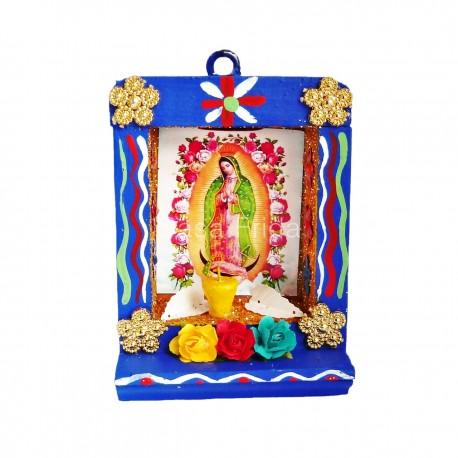 Petite niche Vierge de Guadalupe bleu - Autel en bois - Casa Frida