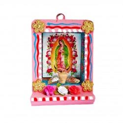 Petite niche Vierge de Guadalupe rose - Autel en bois - Casa Frida