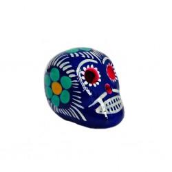 Petit crâne mexicain bleu foncé - Mini tête de mort décorée - Casa Frida