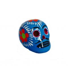 Petit crâne mexicain bleu - Mini tête de mort décorée - Casa Frida