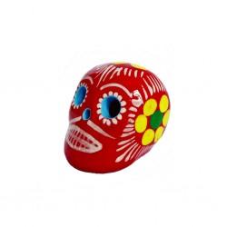Petit crâne mexicain rouge - Mini tête de mort décorée - Casa Frida