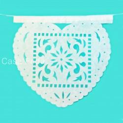 Guirlande en papier Corazon - Papel picado mariage blanc - Casa Frida