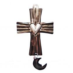 Ex voto croix avec coeur et lune - Déco mexicaine - Casa Frida