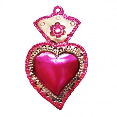 Ex Voto Coeur Sacre Avec Fleur Rose Artisanat Mexicain Casa Frida