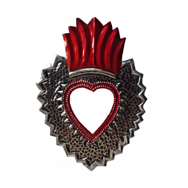Sacred Heart With Large Flame And Mirror Mexican Decor