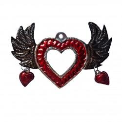 Coeur sacré avec petites ailes à coeurs et miroir