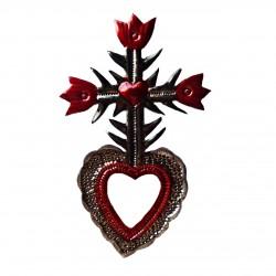 Coeur sacré avec croix de tulipes et miroir