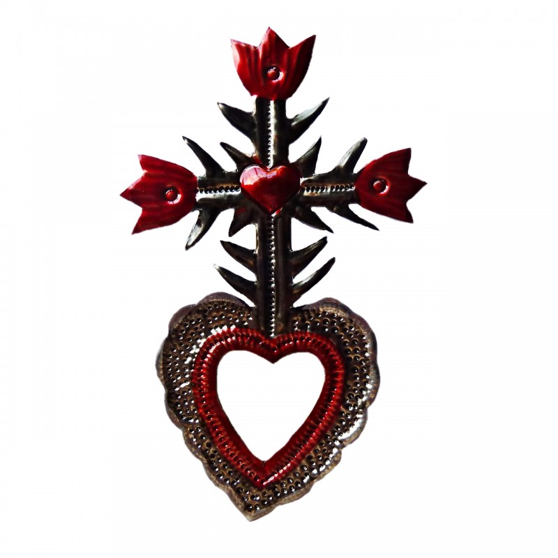 Sacred Heart With Cross Of Flowers And Mirror Mexican