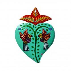 Ex voto coeur avec 2 oiseaux - Vert