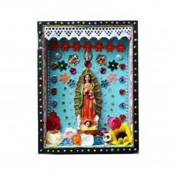 Niche statuette Vierge de Guadalupe bleu