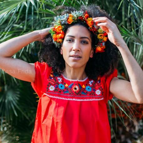 Blouse mexicaine rouge - Tunique brodée taille S - Casa Frida