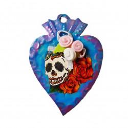 Magnet coeur sacré avec crâne mexicain - Aimant Catrina - Casa Frida