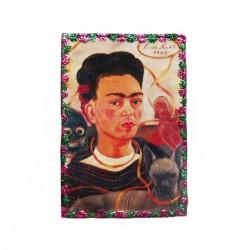 Magnet en bois Autoportrait avec Mono - Aimant Frida Kahlo - Casa Frida
