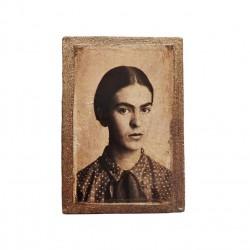 Magnet en bois Frida Kahlo jeune - Aimant, portrait - Casa Frida