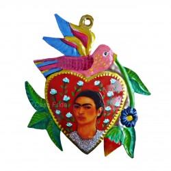 Corazón pintado de Frida Kahlo con pajaro - Hojalata - Casa Frida
