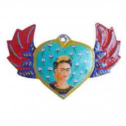 Coeur ailé peint Frida Kahlo bleu