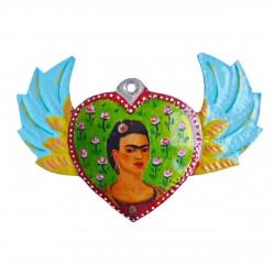 Coeur ailé peint Frida Kahlo vert - Coeur sacré mexicain - Casa Frida