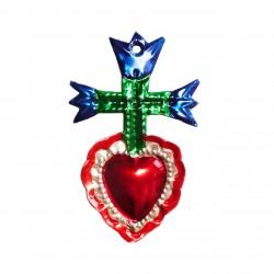 Coeur sacré avec 3 tulipes - Bleu