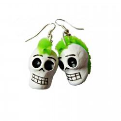 Boucles d'oreilles Calavera punk - Vert