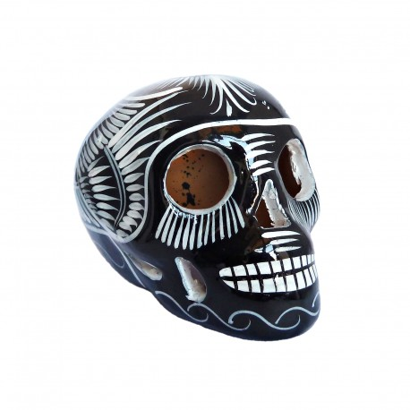 Crâne mexicain avec oiseau Noir et blanc