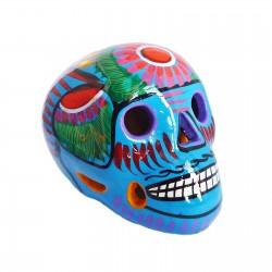 Crâne mexicain avec oiseau bleu - Fête des morts mexicaine - Casa Frida