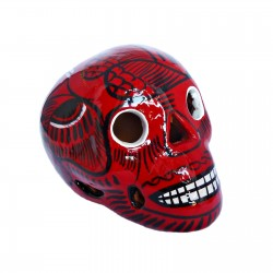 Crâne mexicain avec oiseau rouge - Fête des morts mexicaine - Casa Frida