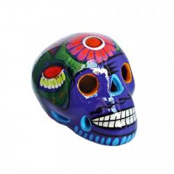 Crâne mexicain avec oiseau violet - Fête des morts mexicaine - Casa Frida