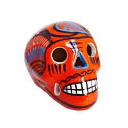 Crâne mexicain avec oiseau orange - Fête des morts mexicaine - Casa Frida