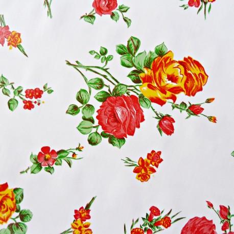 toile cir e rosedal blanc toile enduite fleurie r tro. Black Bedroom Furniture Sets. Home Design Ideas