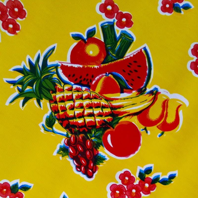 toile cir e tropical jaune toile enduite mexicaine fruit. Black Bedroom Furniture Sets. Home Design Ideas