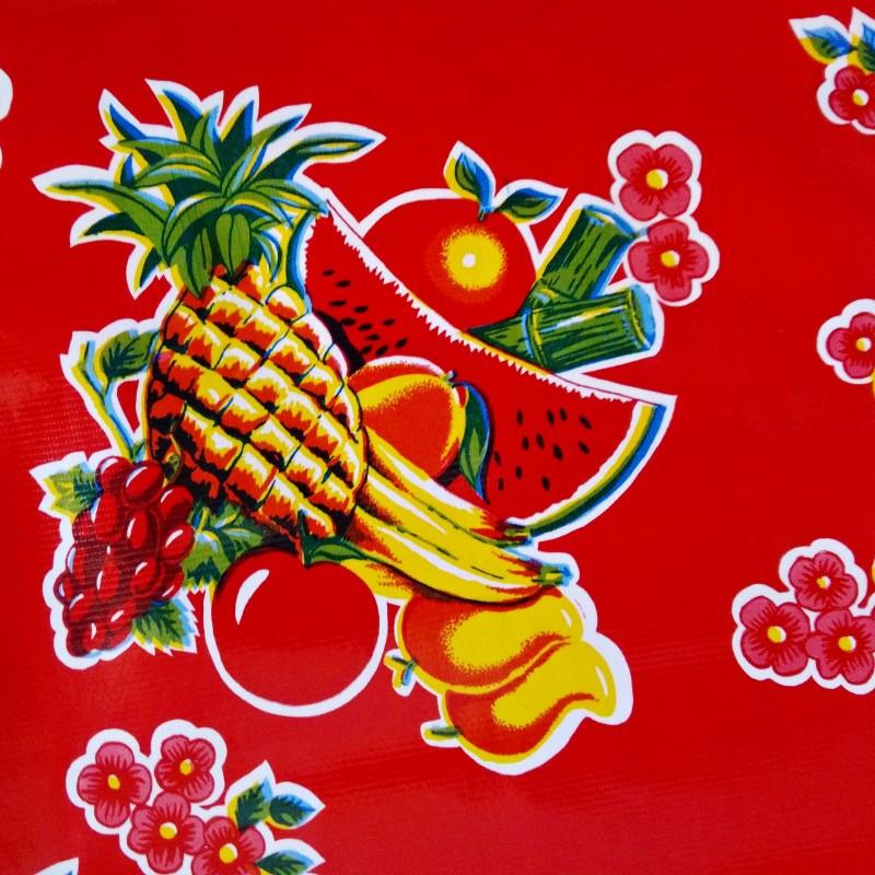 toile cir e tropical rouge toile enduite mexicaine fruit. Black Bedroom Furniture Sets. Home Design Ideas