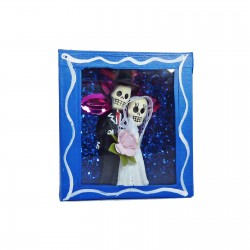 Boîte vitrine Les mariés Bleu