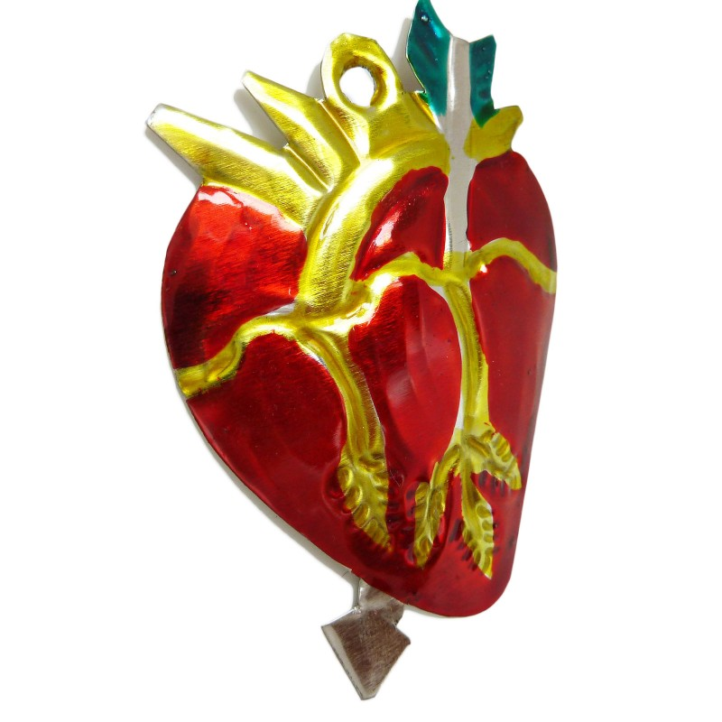Ex voto corazón anatómico - Hojalata mexicana - Casa Frida