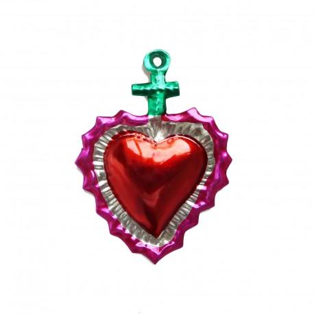 Coeur sacré avec croix Vert