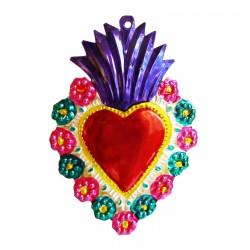 Coeur sacré à bordure fleurie Indigo